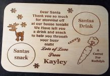 Personalised Christmas Eve /  Santa treat Plate, Platter Board, Place Mat